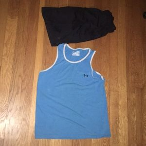 Bright blue tank with grey on neck shoulders large